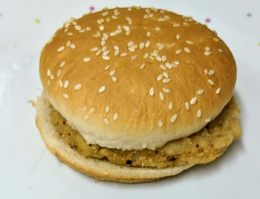 Chicken burger in sesame seed topped bun, no other fillings
