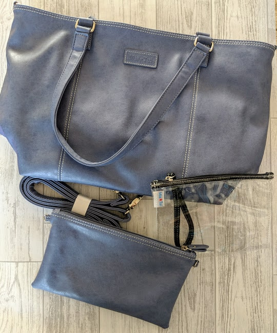 cornflower blue large bag with smaller bag in same colour and clear small bag