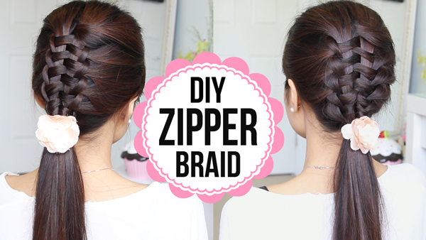 Zipper Braid Suspended Infiinity Braid Hairstyle by Bebexo