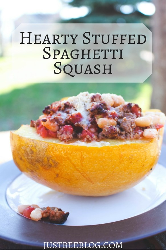 Hearty Stuffed Spaghetti Squash Recipe - A great fall or winter meal idea! - Just Bee Blog