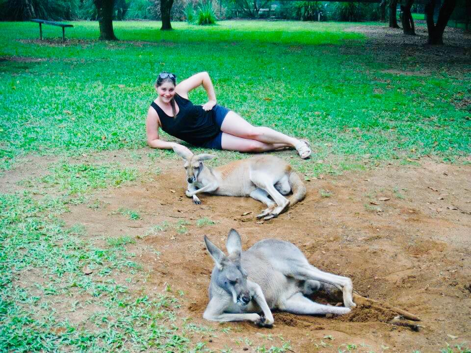 Posing with Kangaroos at the Australia Zoo