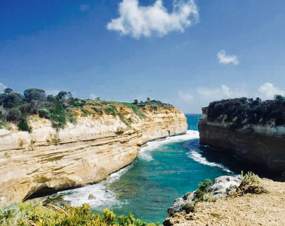 Looking down to the Loch Ard Gorge beach from a viewpoint