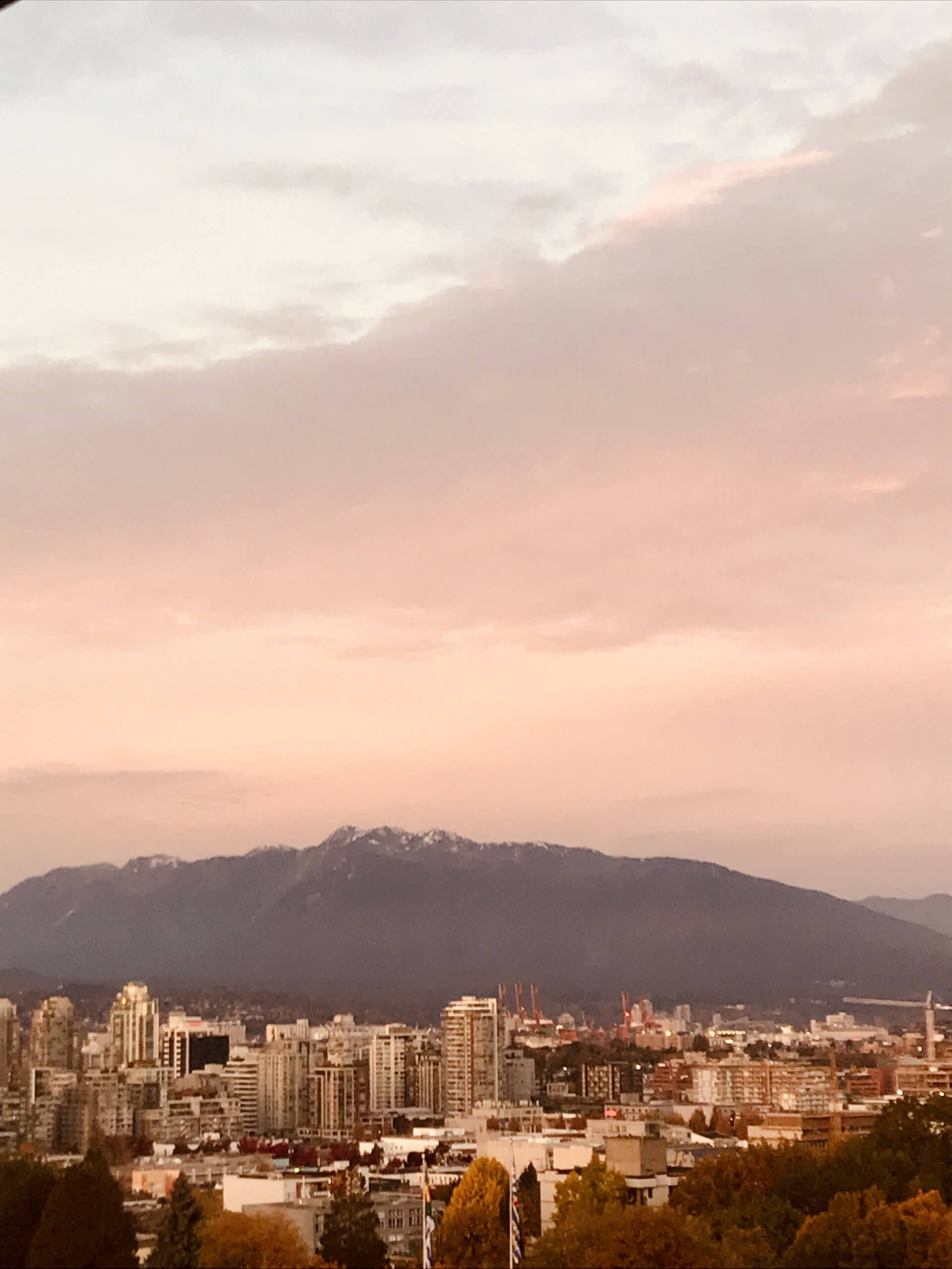 A sunset over Vancouver's North Shore