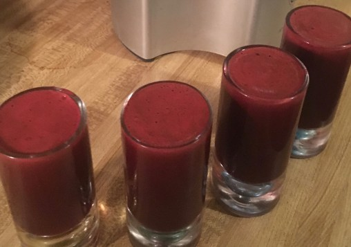 image of beet detox juice as described in the juice recipe on this post