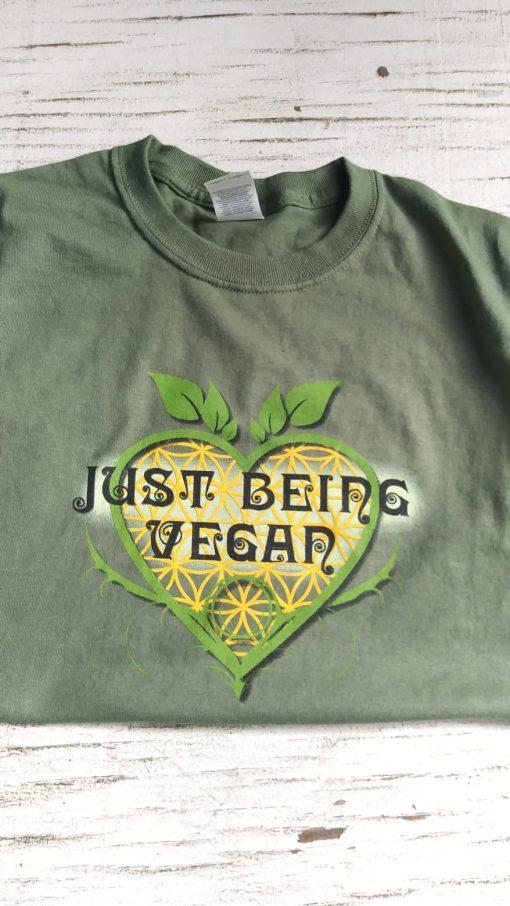 Just Being Vegan t-shirt photo green