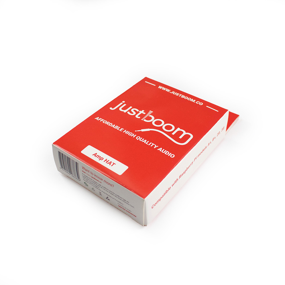 Justboom Amp Hat For The Raspberry Pi Category Amplifiers Analog Ics Products Tags Amplifier Board Red Packaging