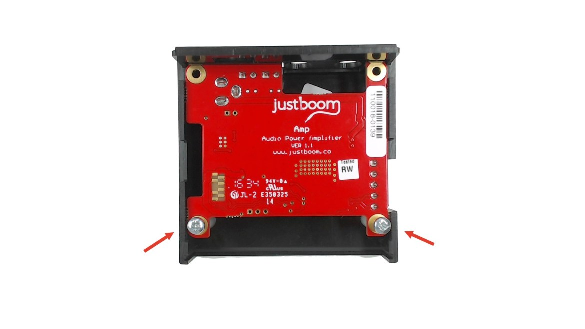 Arrows showing how to install and set up justboom amp