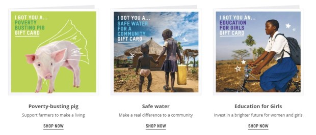 oxfam unwrapped charity gift cards