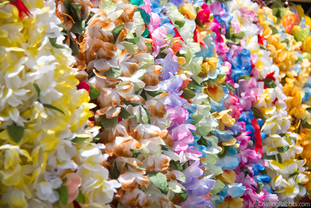 Hawaiian flower lei souvenirs from the Aloha Stadium Swap Meet