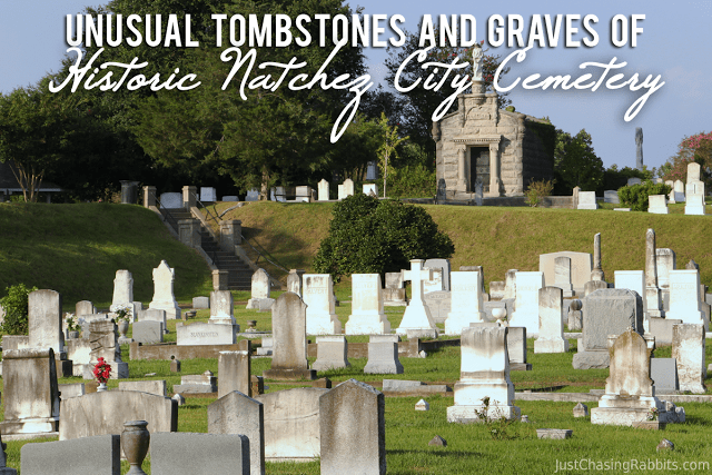 Unusual Tombstones and Graves of Historic Natchez City Cemetery in Natchez, Mississippi