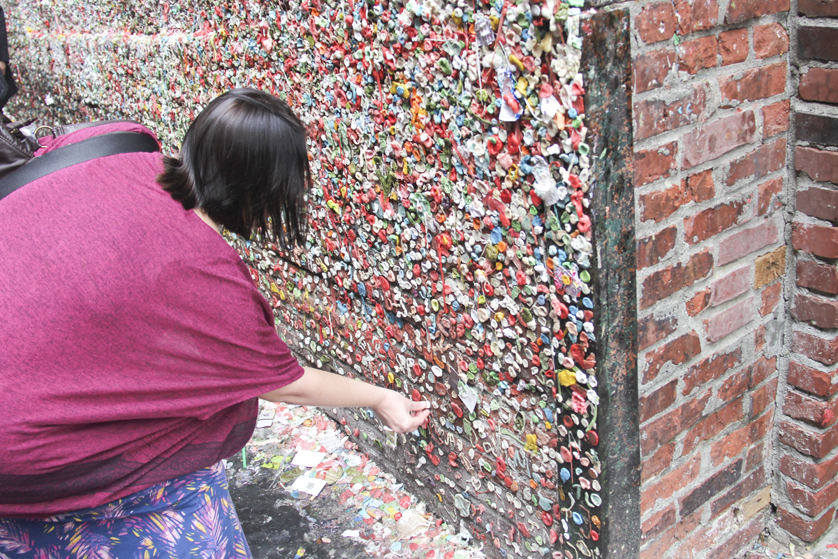 Jenni at the Seattle Gum Wall Post Alley