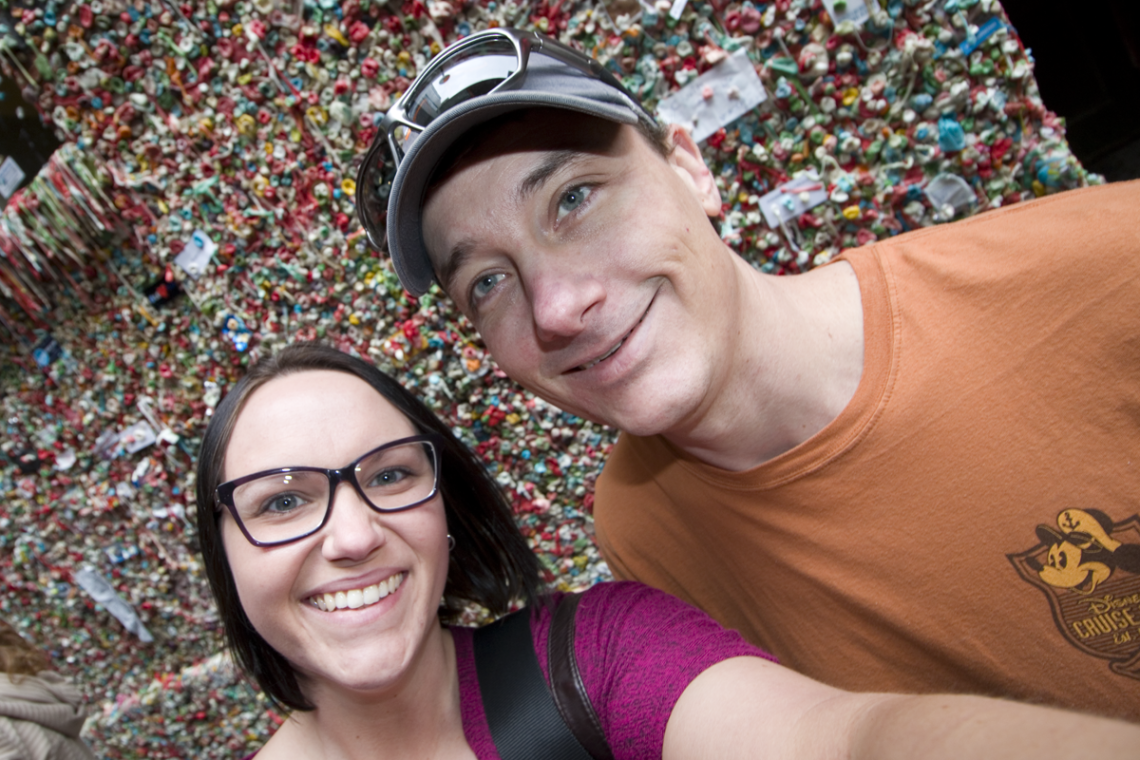 Mark and Jenni at Seattle's Gum Wall