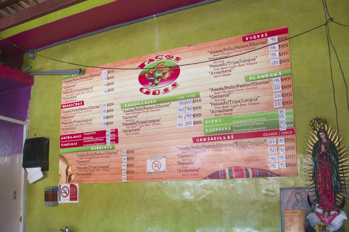 Tacos Guss Menu in 2017