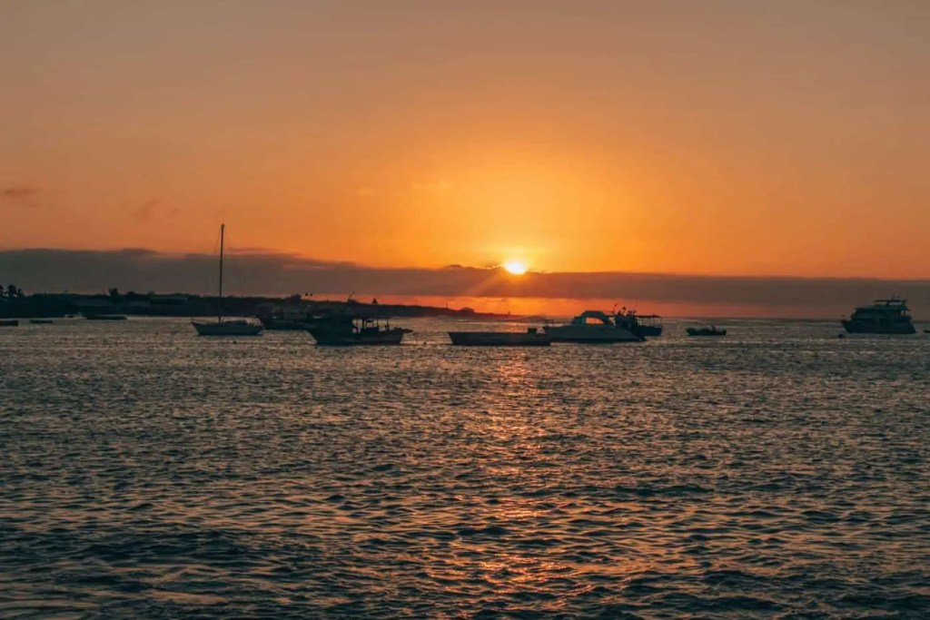 Sunset over San Cristobal a budget friendly option on the Galapagos Islands
