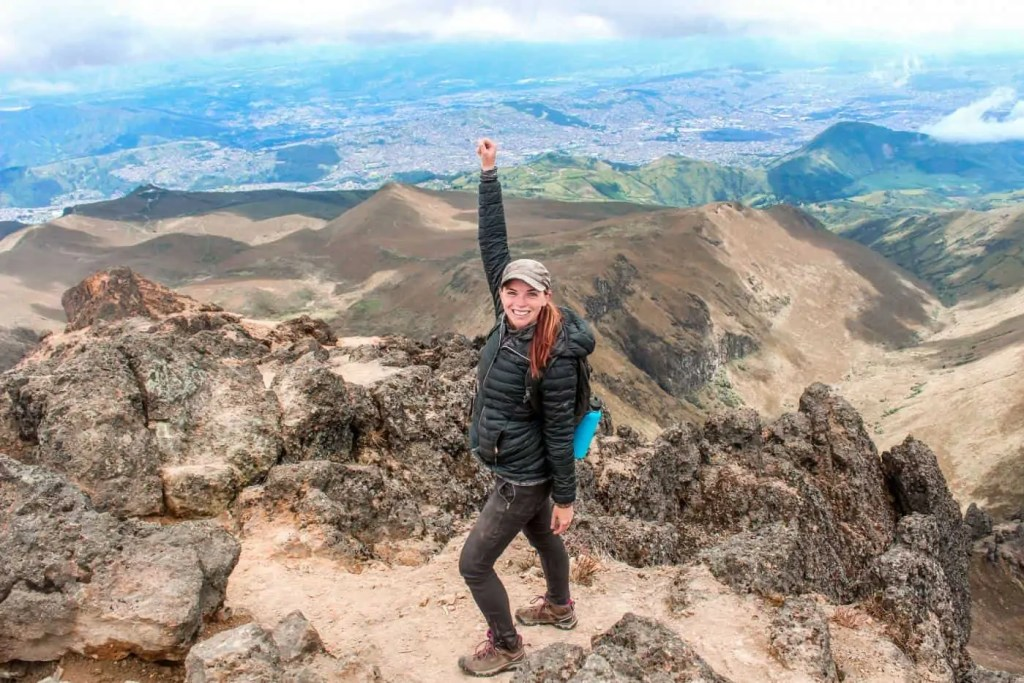 Me, celebrating at the top of the Pichincha volcano