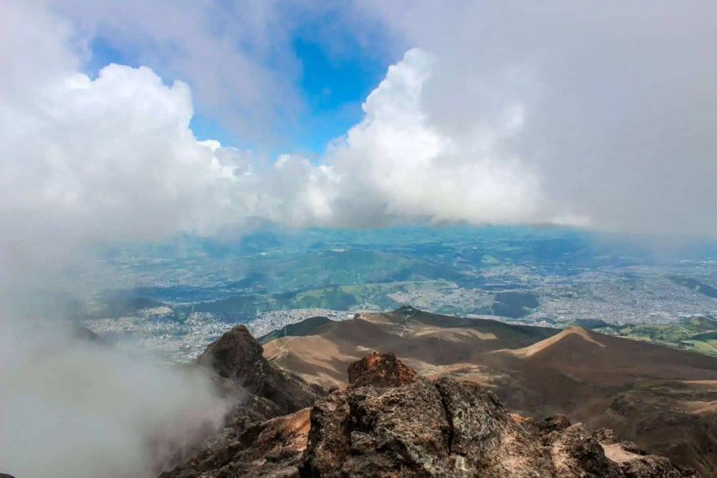 view of Quito from the top of the Pichincha volcano