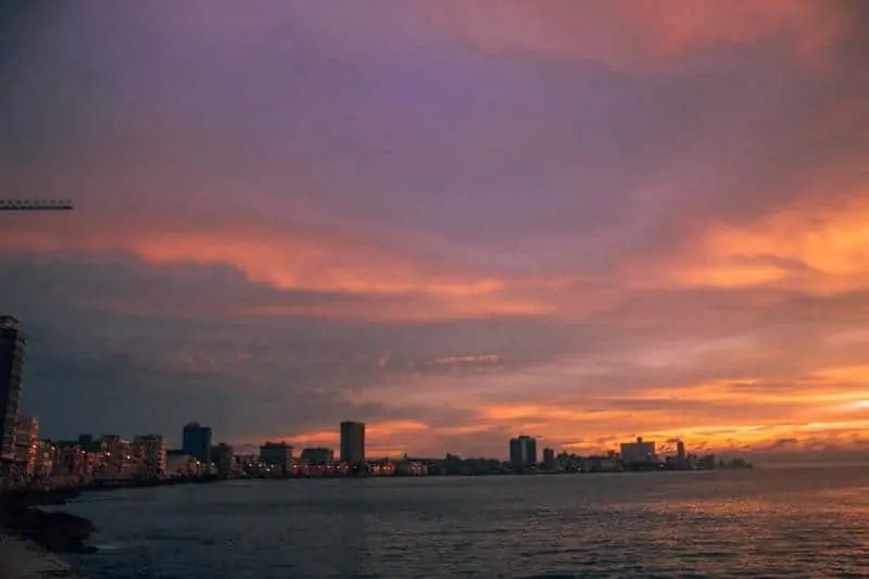 Sunset over the city of Havana