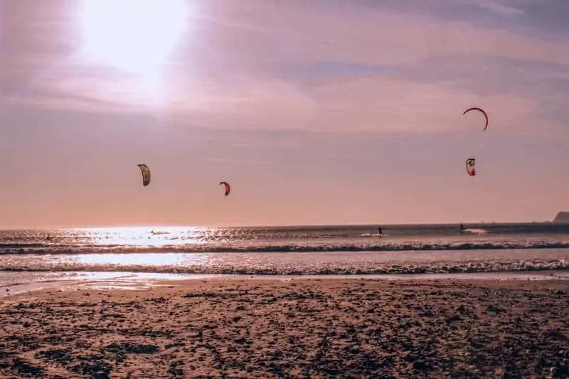 Kite Surfers at Sunset in Paracas