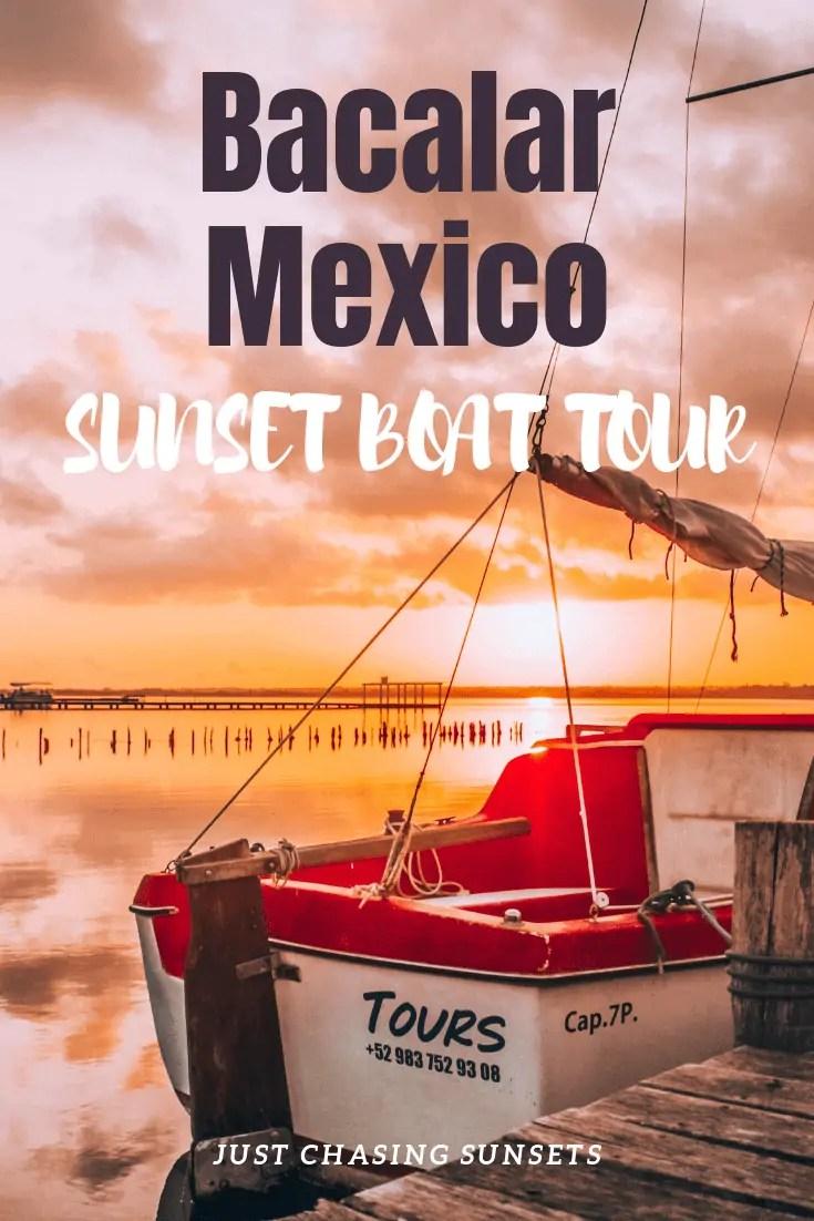sunset Bacalar boat tour