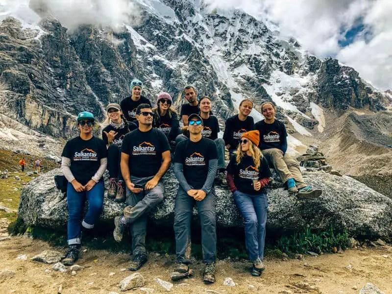the group at the salkantay pass