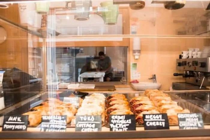 strudel display at strudel hugo - a jewish quarter budapest restaurant