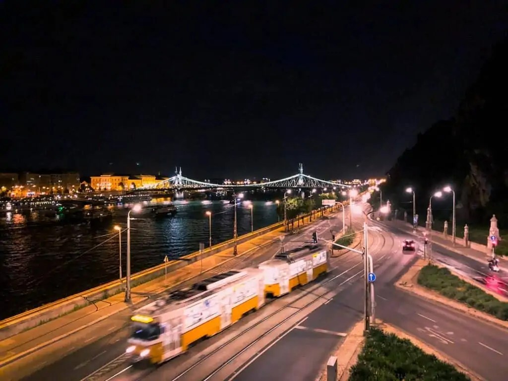 the view from rudas baths at night