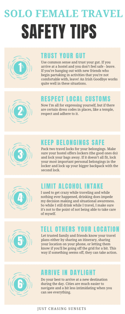 Infographic, solo female travel safety tips