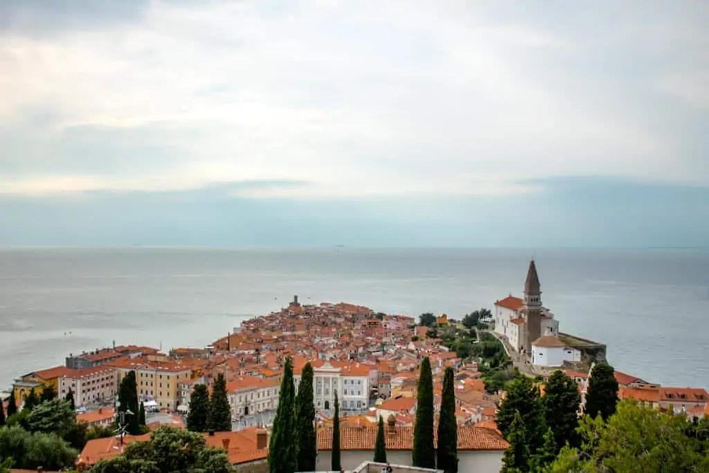 View of Piran from old city walls of Piran