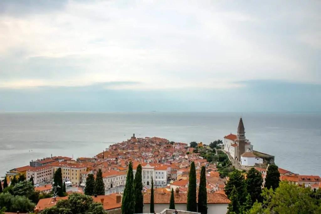 View of Piran from old city walls of Piran