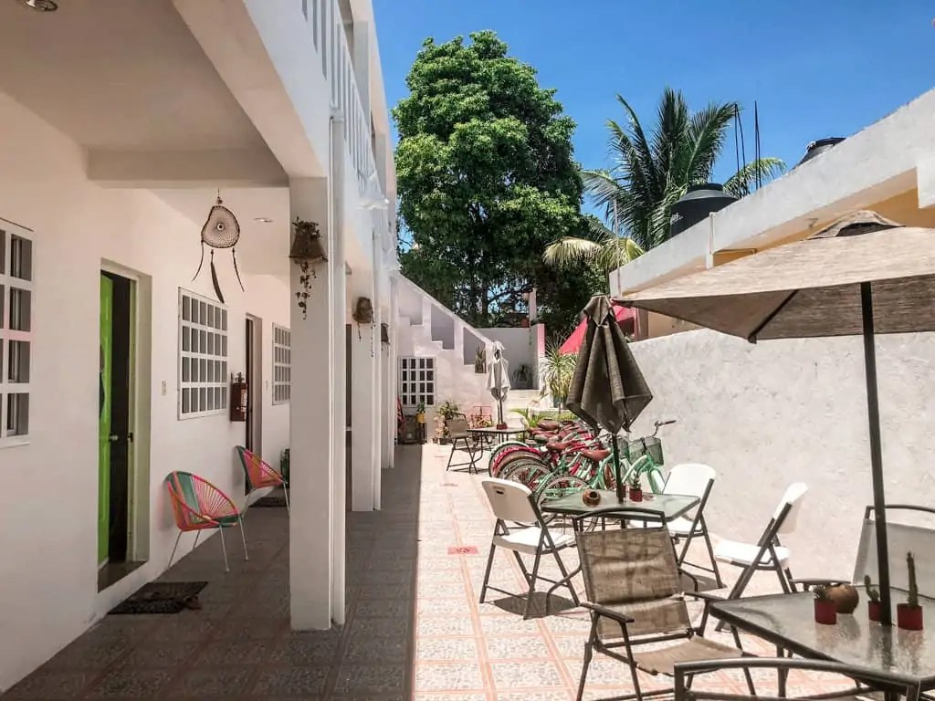 Courtyard at Hotel Beach Inn - Isla Holbox, Mexico
