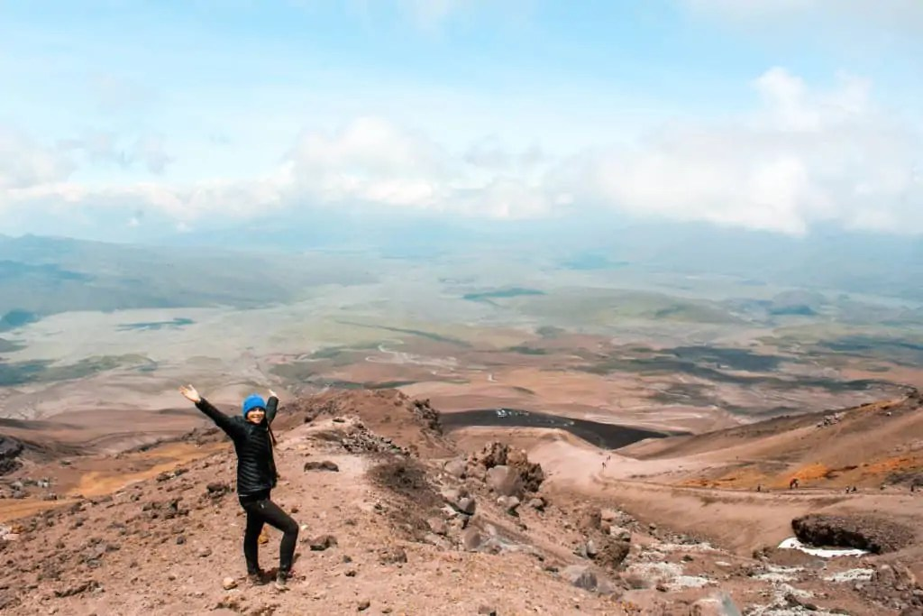 Me with a view of the surrounding area on Cotopaxi
