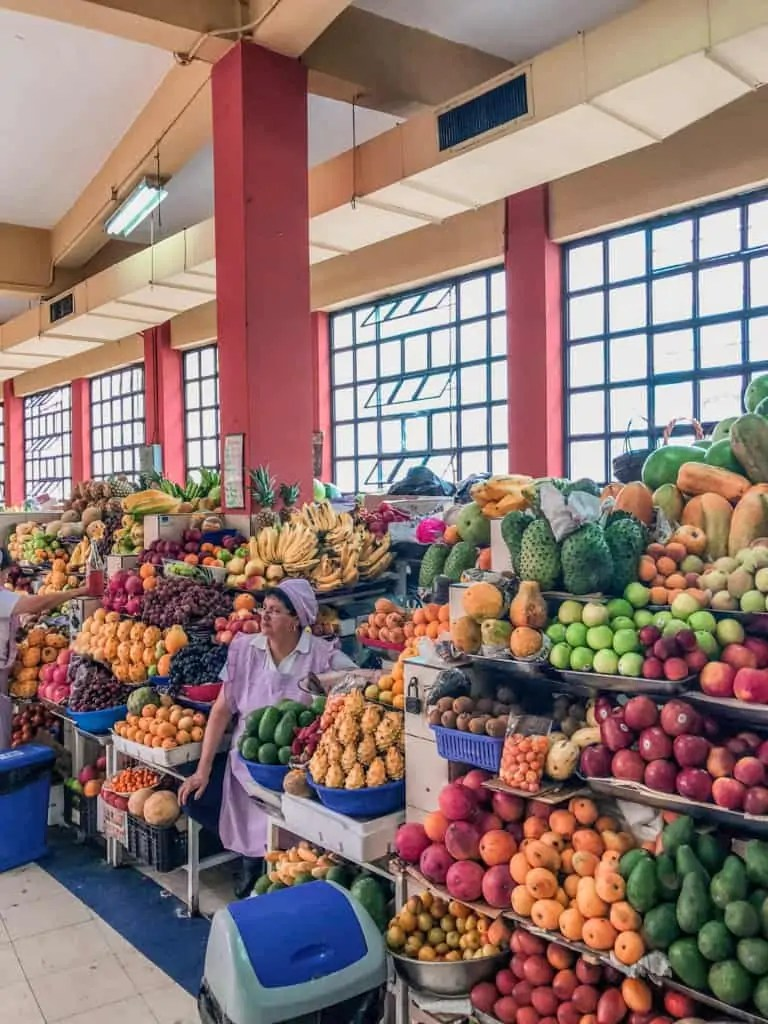 A woman with her fruit at Mercado Central