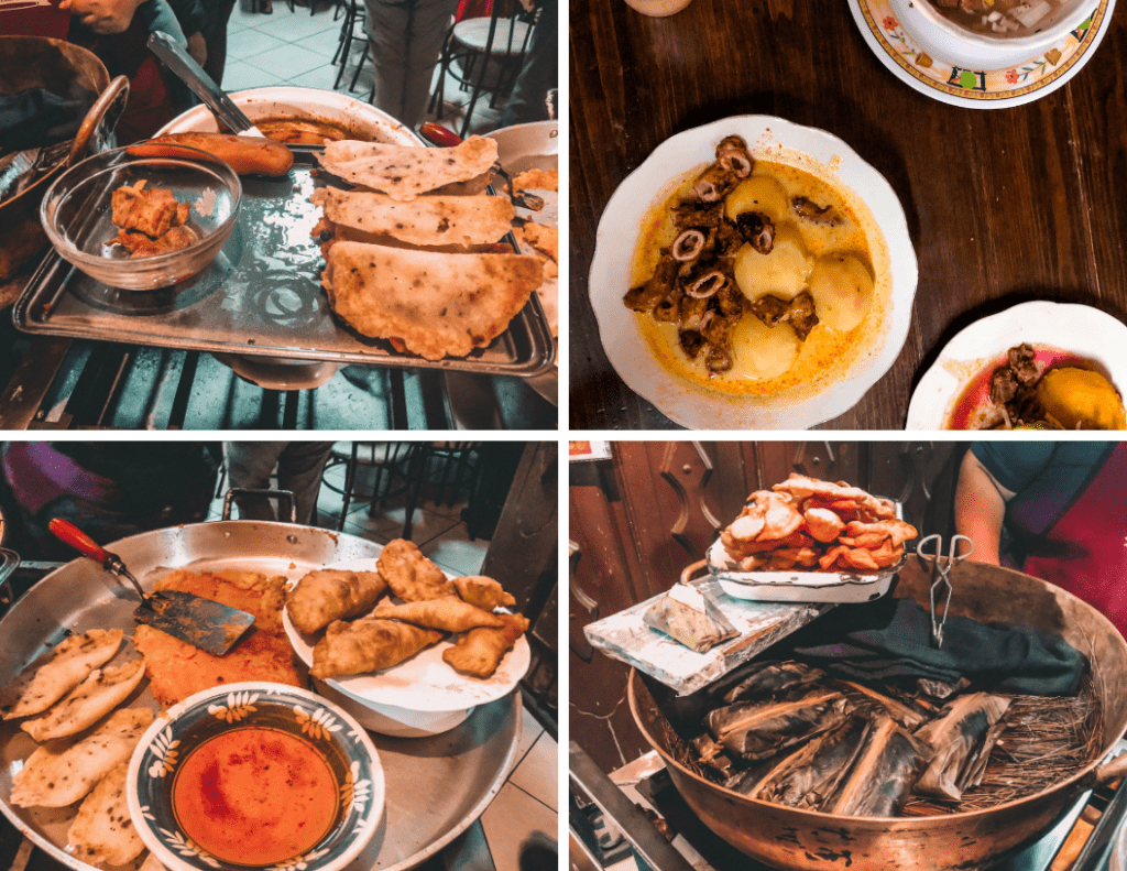 Photos of four local dishes from Quito