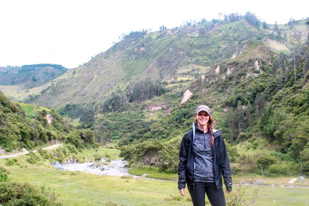 me in front of a river on the quilotoa trek