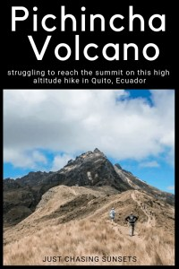 the difficult hike to the pichincha volcano