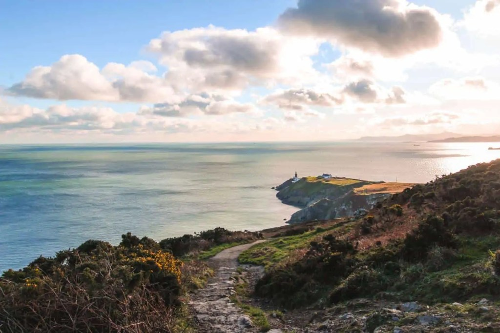 view of the lighthouse from Howth Head