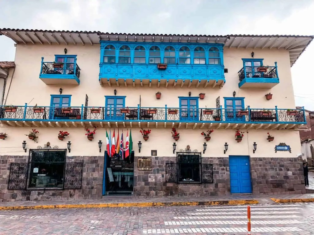 Beautiful buildings and balconies of Cusco Peru