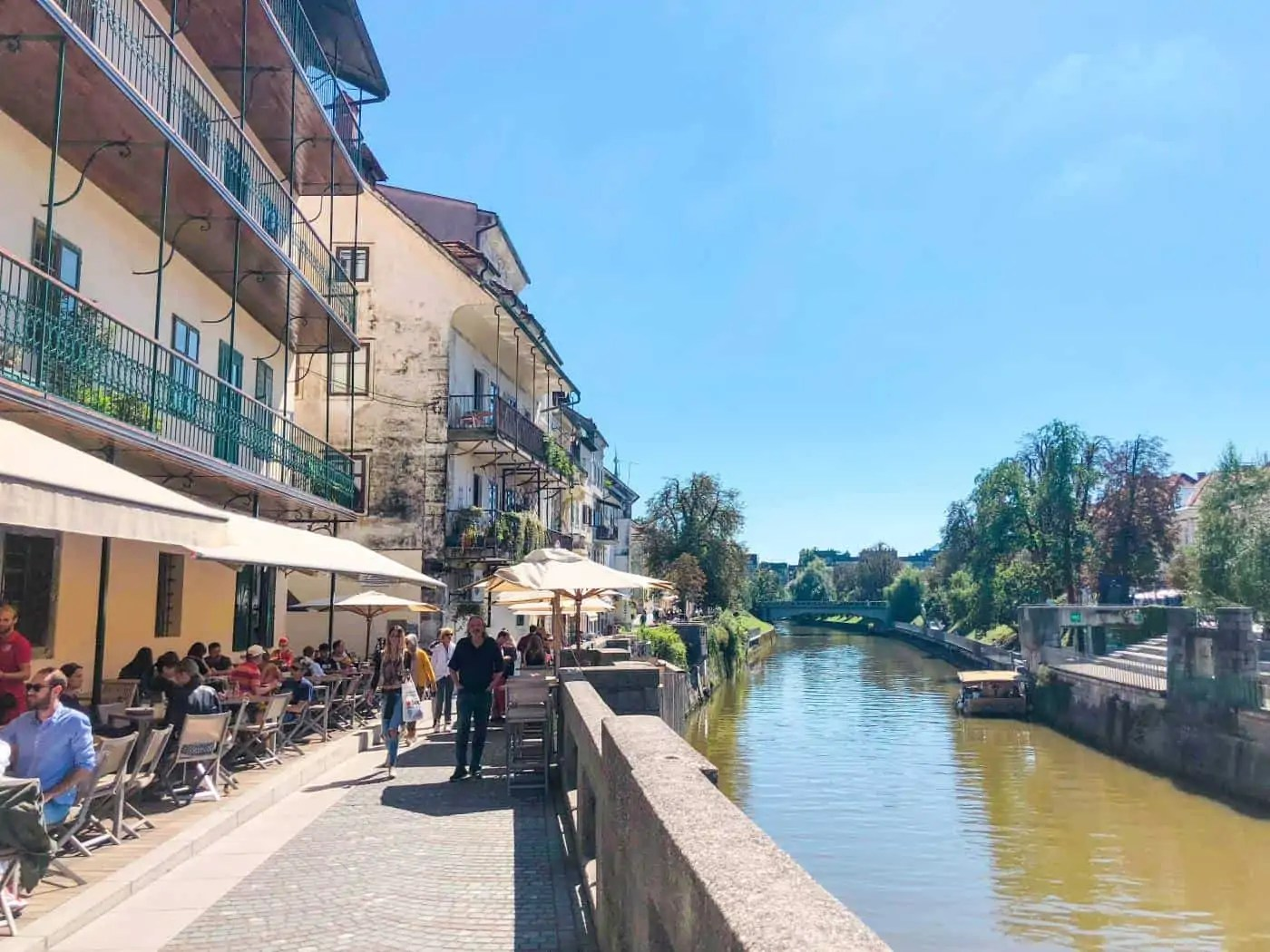 The river front is a lively place to be in Ljubljana