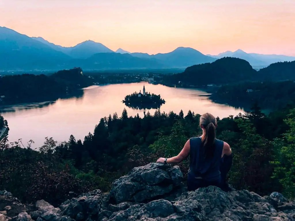 Sunrise hike over Lake Bled