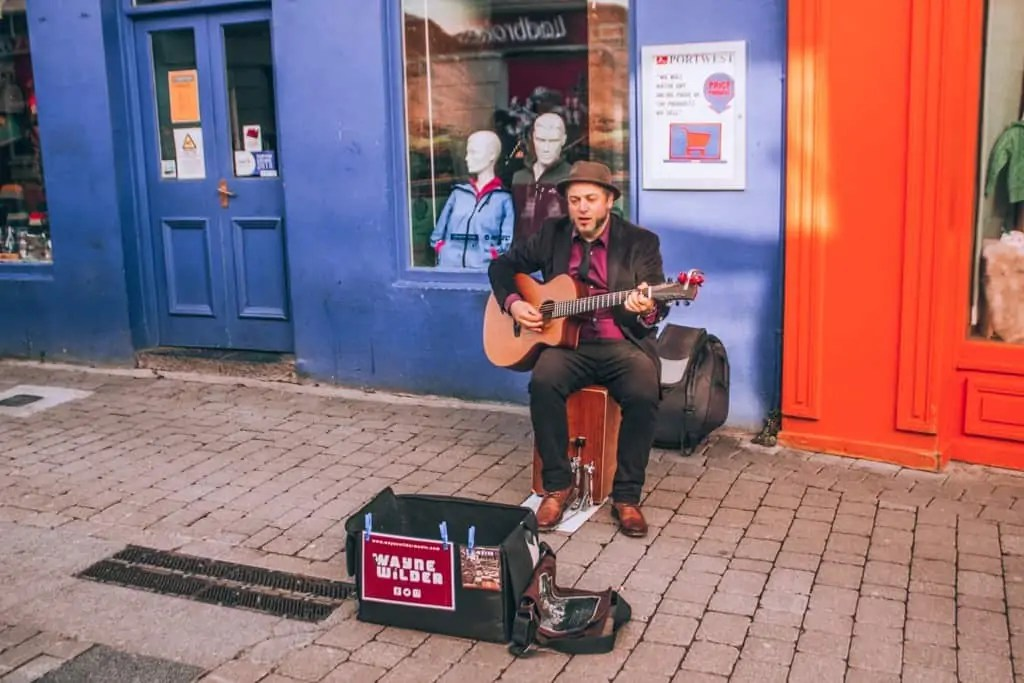 Busker on the streets of Galway