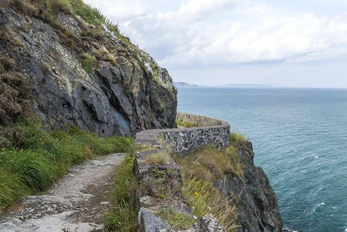 Stone wall lining the Bray to Greystones walk
