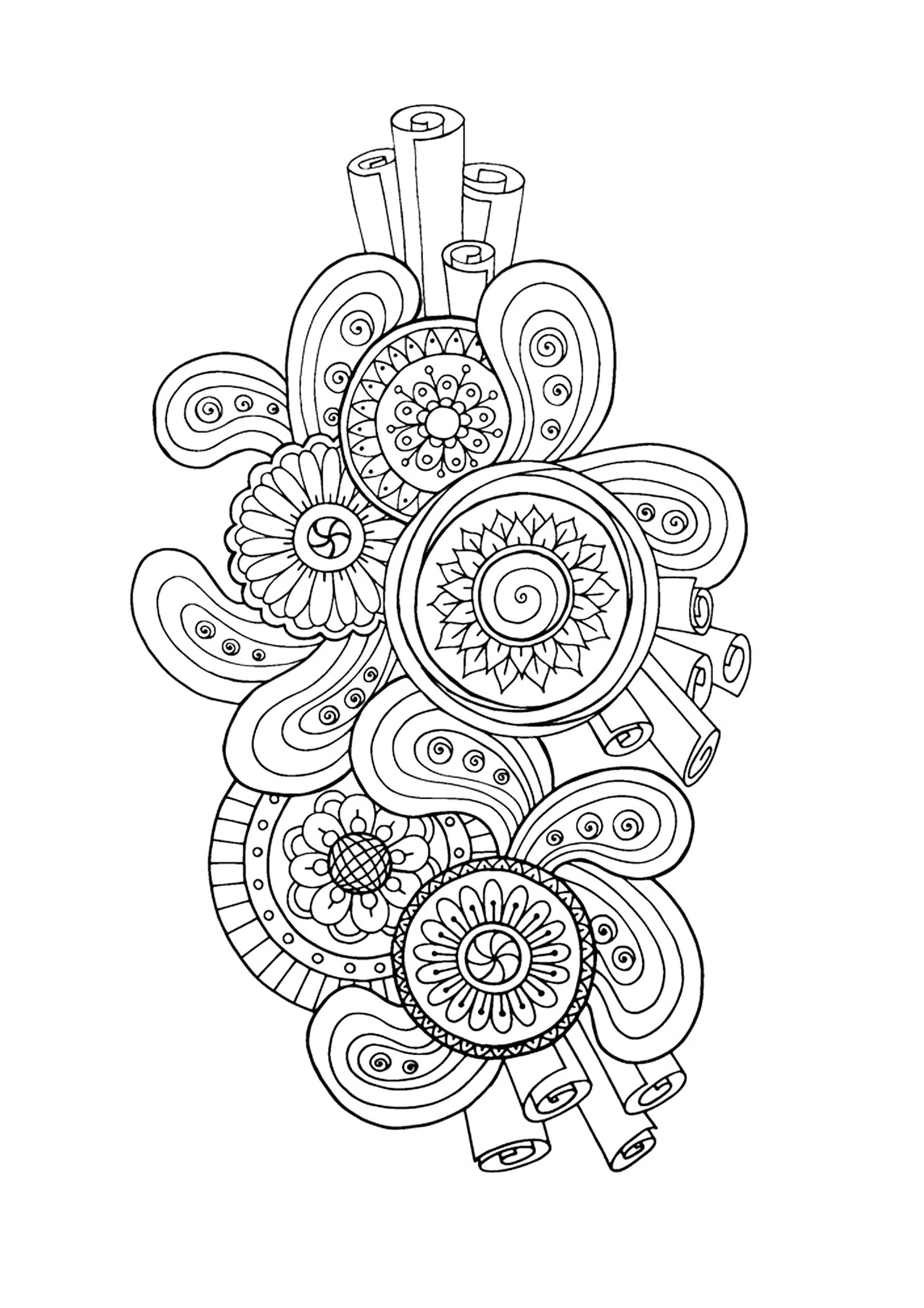 Zen Antistress Motif Abstrait Inspiration Florale 3 Anti