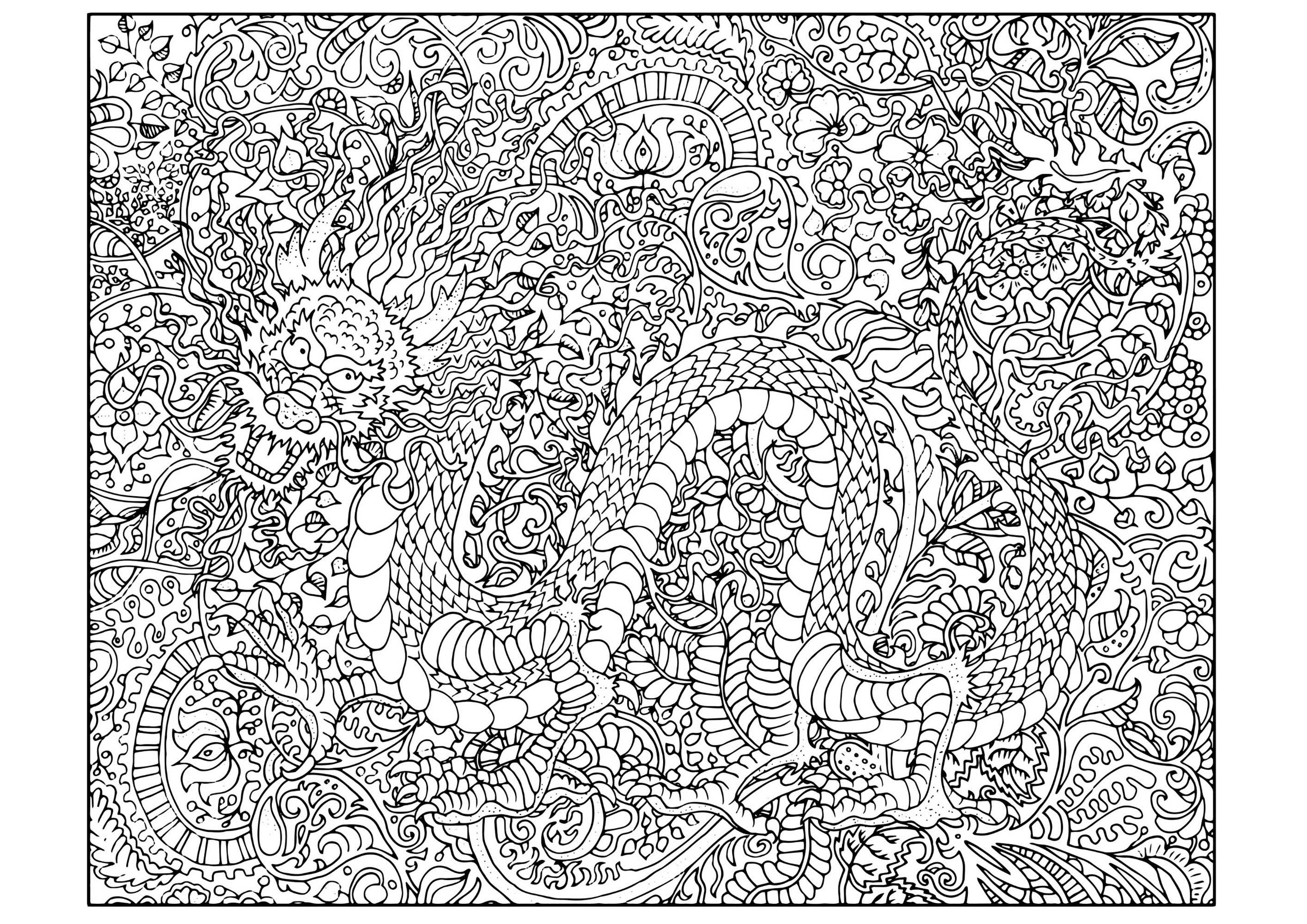 Dragon Tres Complexe Dragons Coloriages Difficiles Pour Adultes