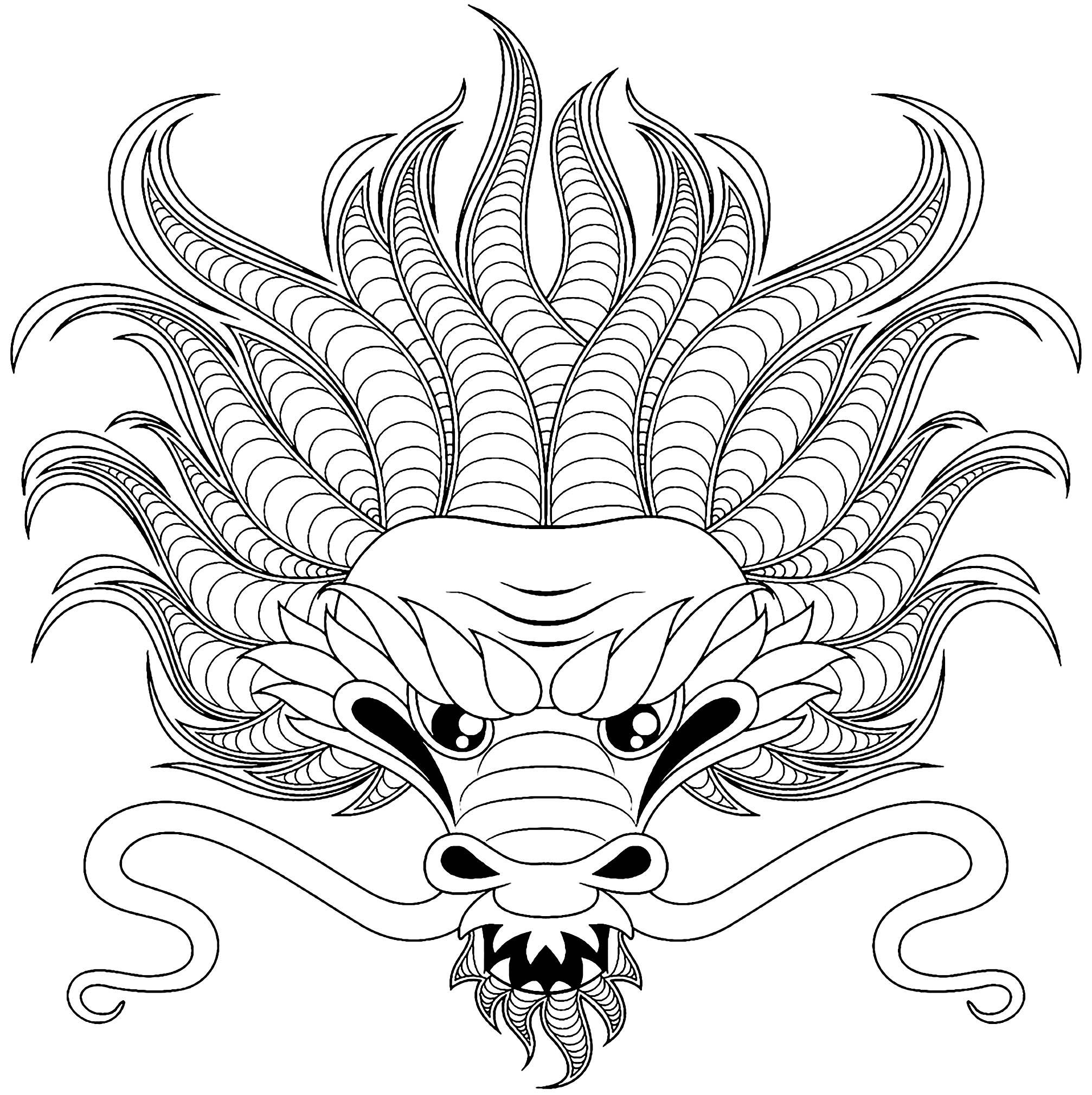 Tete De Dragon Style Tatouage Dragons Coloriages Difficiles Pour Adultes