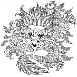 Dragons Coloriages Difficiles Pour Adultes