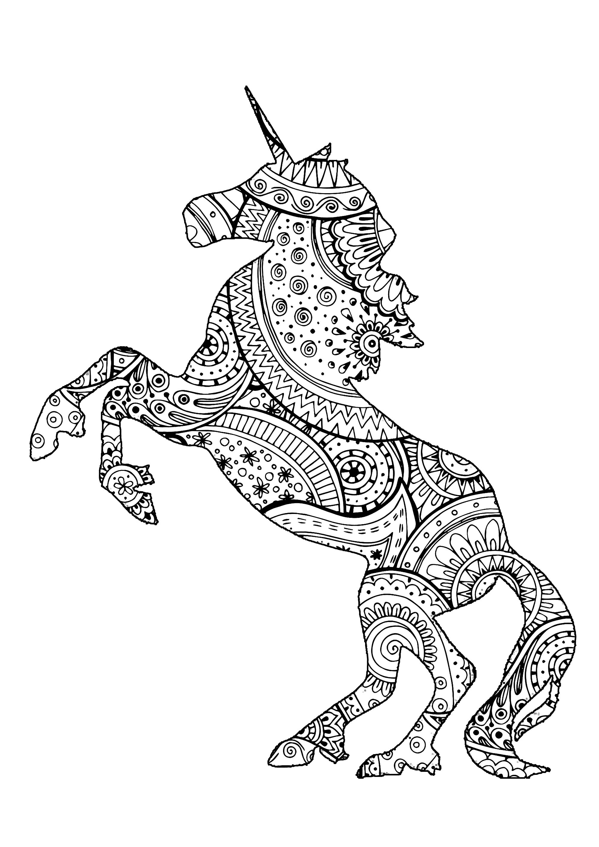 Licorne Avec Motifs Zentangle Et Paisley