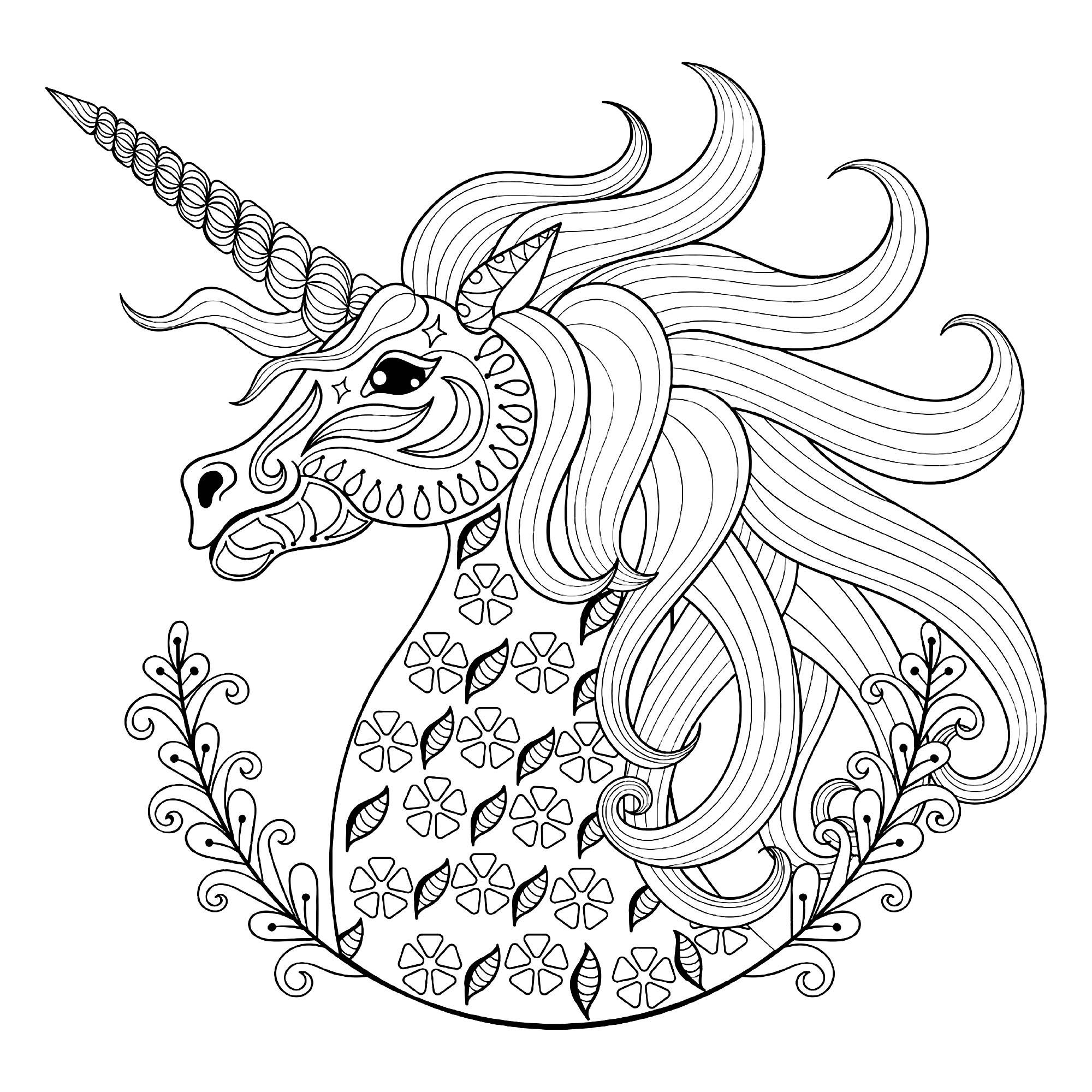 Tete De Licorne Avec Motifs Licornes Coloriages