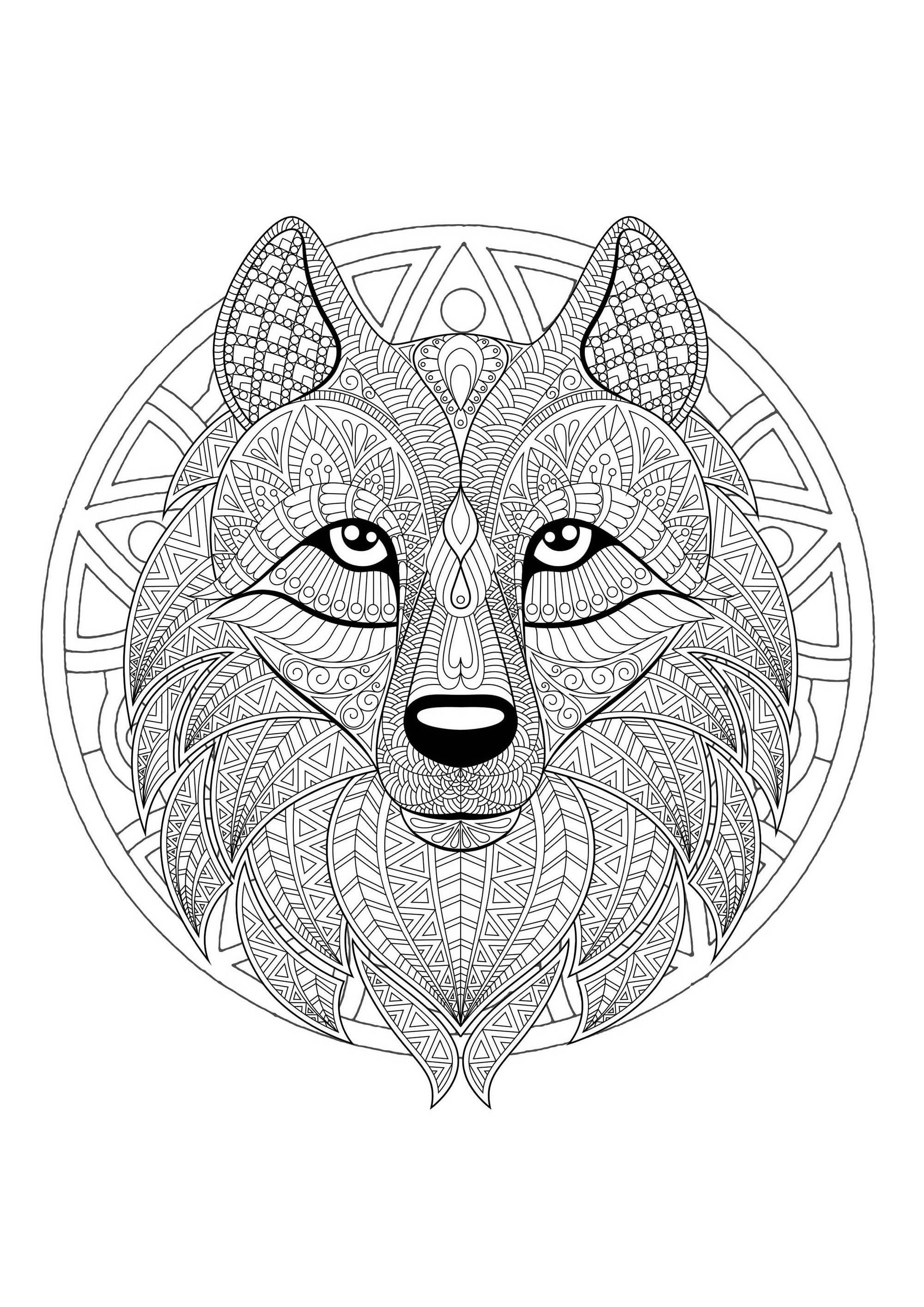 Dessin À Imprimer Mandala Loup - Coloriage Tigre Mandala