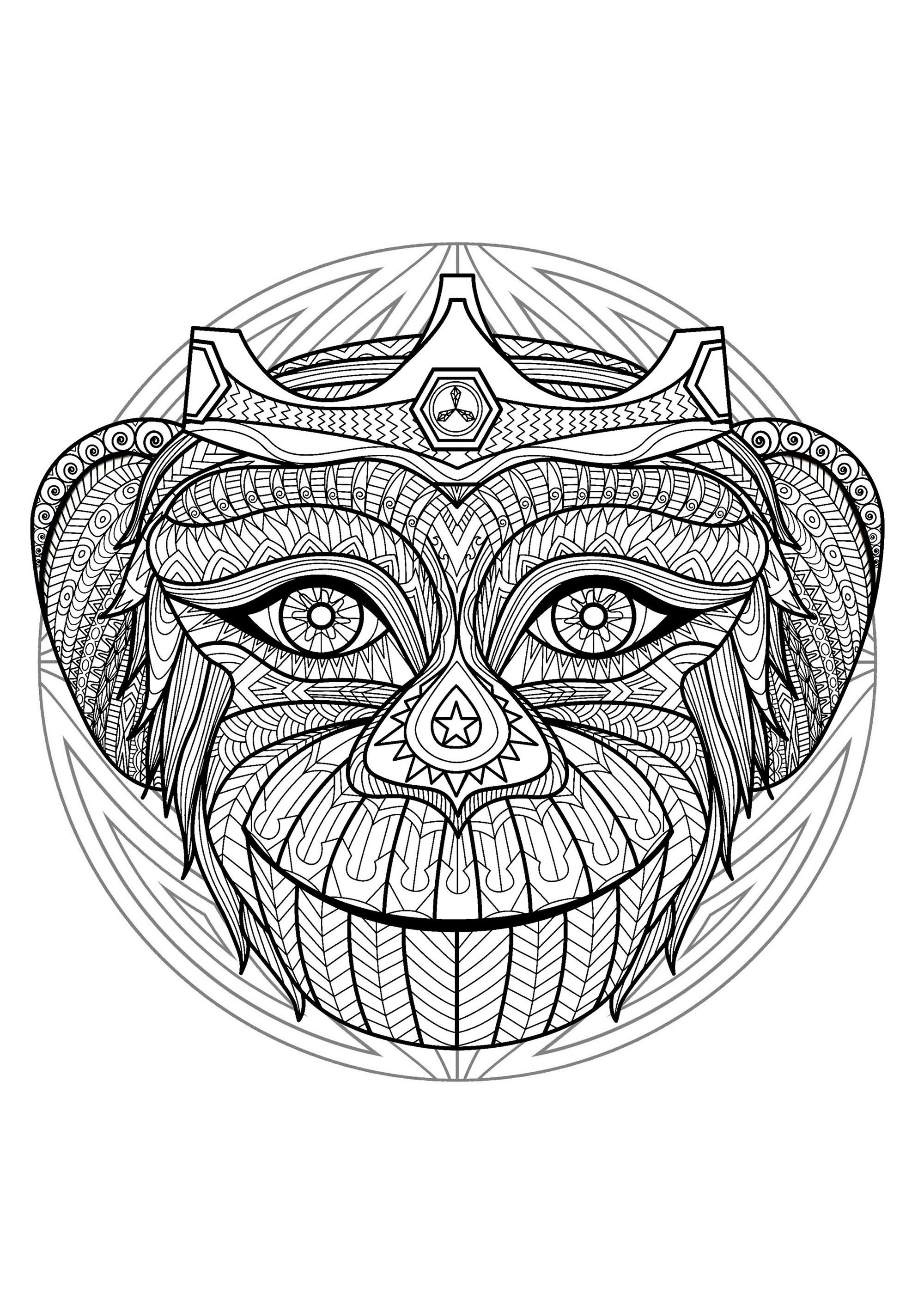 Mandala Tete Singe 2 Mandalas Coloriages Difficiles