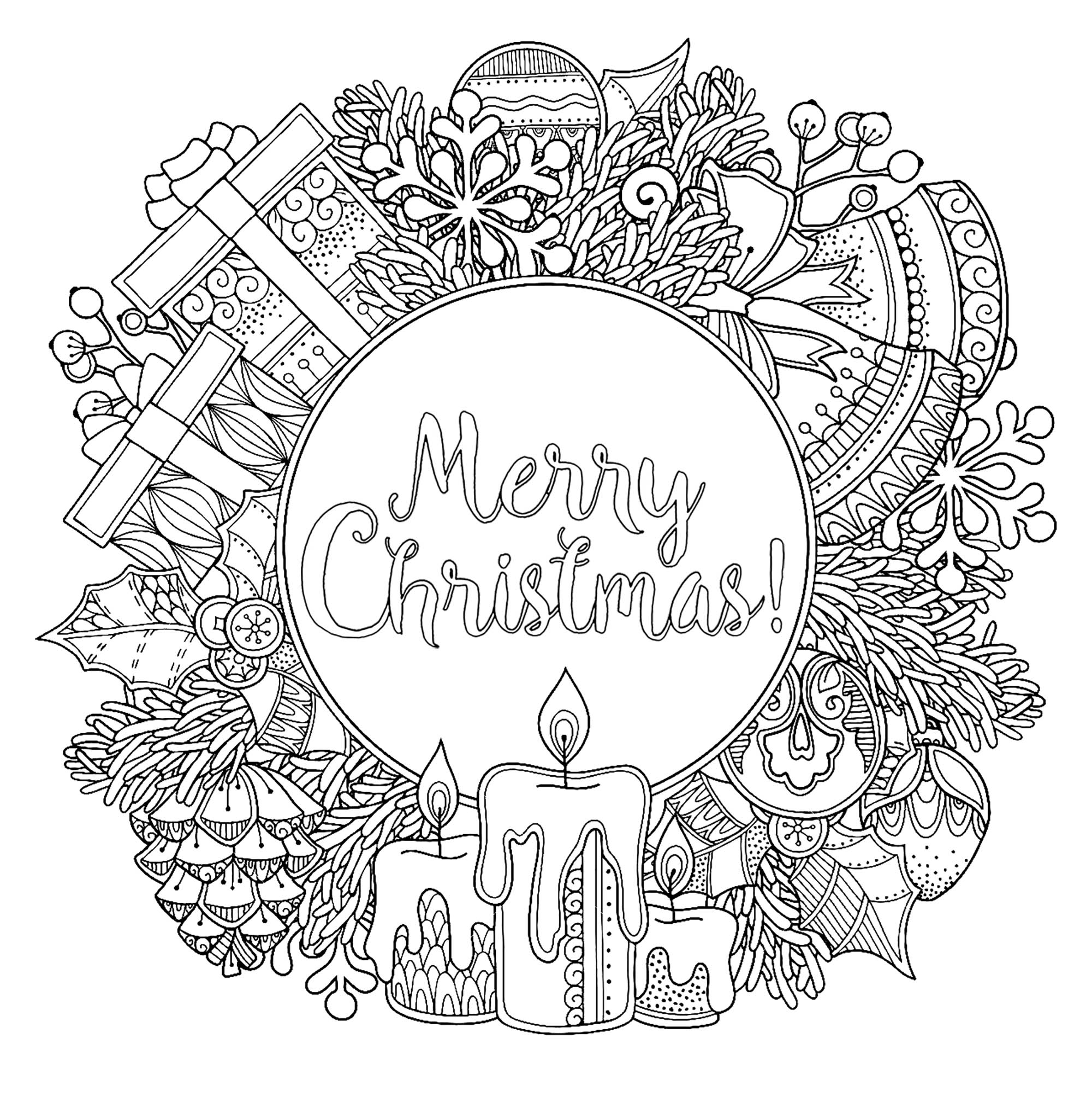 Coloriage Circulaire Merry Christmas